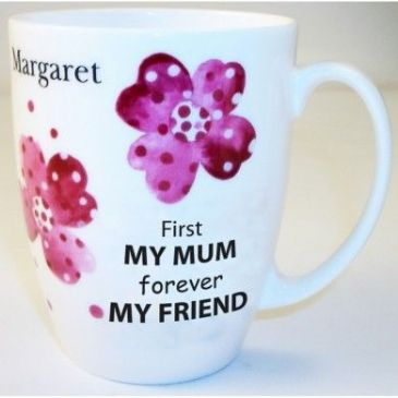 Pink Pansies Mum Bone China Conic Mug